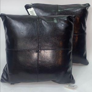"""EI8HTEEN KARAT leather pillows 18"""" set of two"""